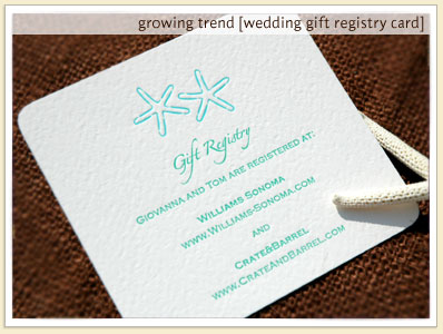 Example Of Wedding Gift List : gift registry cards
